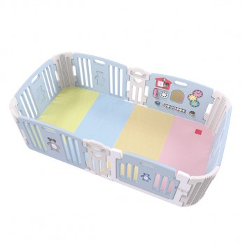 Haenim Toy Signature Baby Room With Activity Center Sky Blue Play Yard with Color Foldable Play Mat