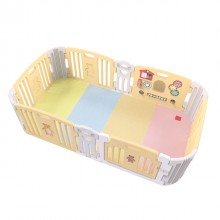 Haenim Toy Signature Baby Room With Activity Center Light Yellow Play Yard with Color Foldable Play Mat
