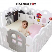 Haenim (Korea) Baby Play Yard Petit 8 Panels White + Foldable Play Mat
