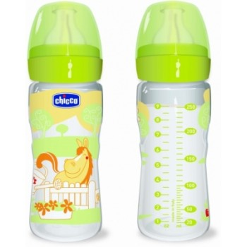 Chicco Well Being 0%BPA Plastic Feeding Bottle 250 ml Romantic Adjustable Flow - Silicone Teat