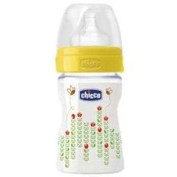 Chicco Wellbeing Feeding Bottle 150ml 0% BPA Regular Flow - SiliconeTeat