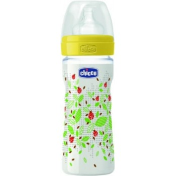 Chicco Wellbeing Feeding Bottle 250ml 0% BPA Adjustable Flow - Latex Teat