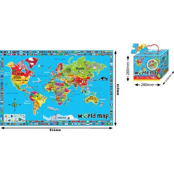 World Map Printed Jigsaw Puzzle  (48 pcs)