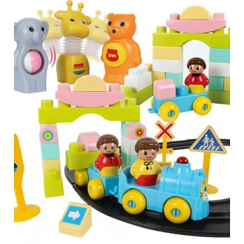 Haenim (Korea) Premium Building Blocks (Set of 128pcs) Train Playing With Track