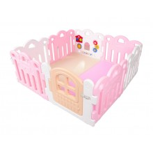 Haenim (Korea) Baby Play Yard Petit 8 Panels White Pink + Foldable Play Mat