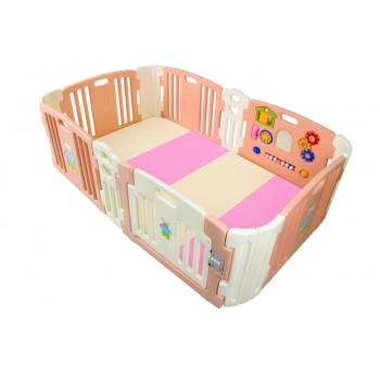 Haenim (Korea)Baby Play Yard 6+6 Panel Rose Gold With Activity + Foldable Play Mat