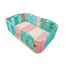 Haenim (Korea)Baby Play Yard 6+6 Panel Mint Pink With Activity + Foldable Play Mat