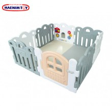 Haenim (Korea) Baby Play Yard Petit 8 Panels White Gray + Foldable Play Mat