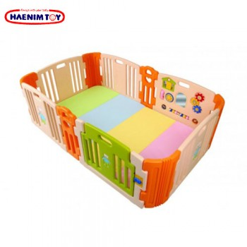 Haenim (Korea) Baby Play Yard 6+6 Panel Beige With Activity + Foldable Play Mat