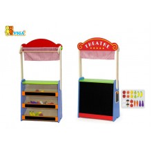 Wooden Puppet Theatre + Grocery Store (2 in 1)
