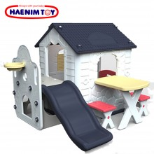 Haenim Toy (Korea) Fun Park Kid Play House Navy Blue 4 in 1 with slide, basketball, table, and chairs